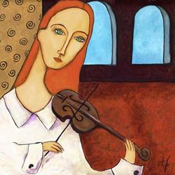 Art: French Girl with Violin by Artist April
