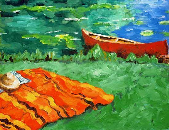Art: Red Canoe by Artist April