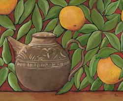 Art: Grapefruit and Teapot by Artist April