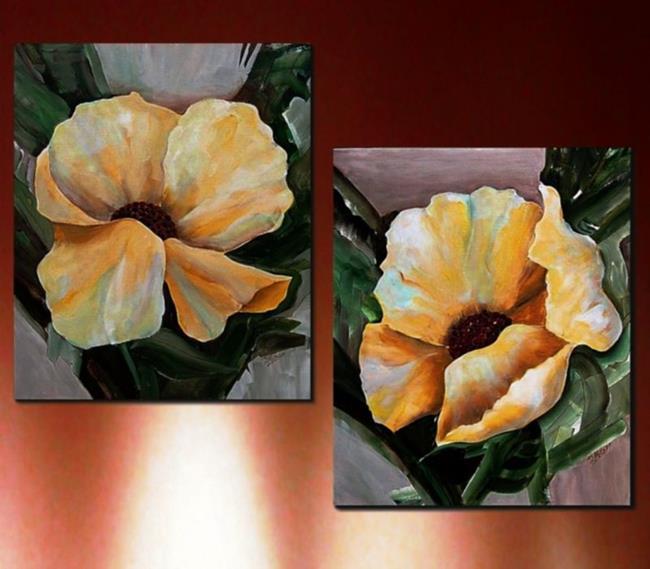 Art: Yellow Poppy Abstract - Pair by Artist Diane Millsap