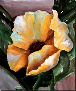 Detail Image for art Yellow Poppy Abstract - Pair