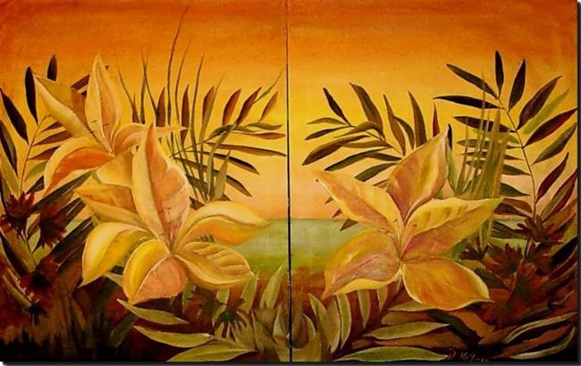 Art: River's Edge - Diptych by Artist Diane Millsap