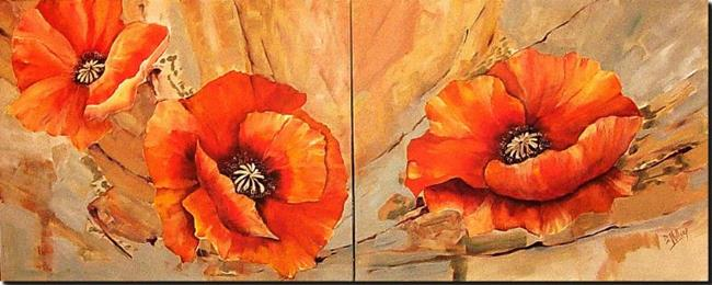 Art Orange Poppies Diptych By Artist Diane Millsap