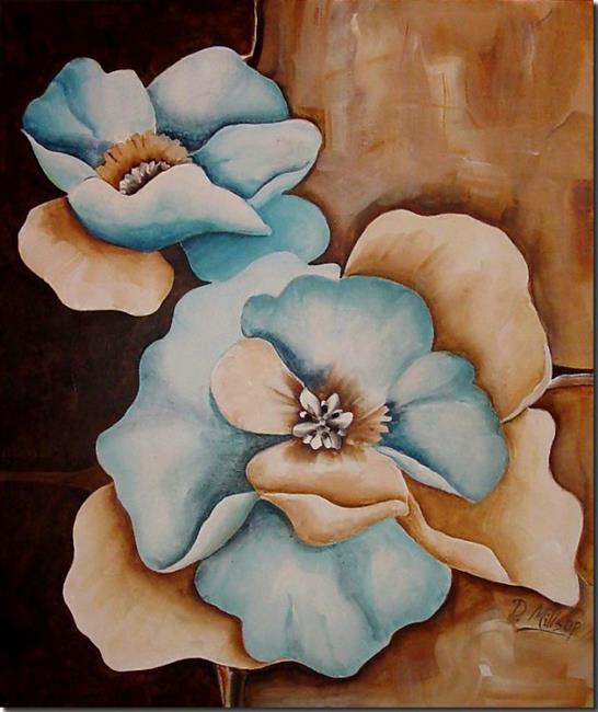 Art: Aqua Petals Abstract by Artist Diane Millsap