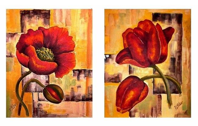 Art: Pair of Abstract Floral Prints- Poppy & Tulip by Artist Diane Millsap