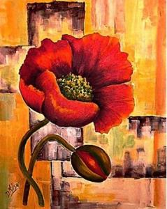 Detail Image for art Pair of Abstract Floral Prints- Poppy & Tulip