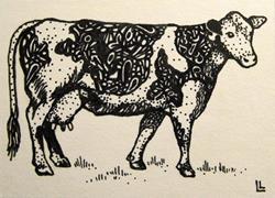 Art: Hattie the Holstein ACEO by Artist Lindi Levison