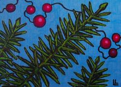 Art: Holiday Evergreen - ACEO by Artist Lindi Levison