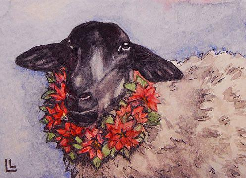 Art: Good Tidings to Ewe ACEO by Artist Lindi Levison