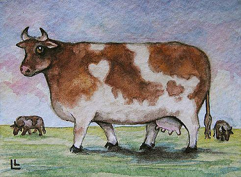 Art: Moo My Valentine ACEO by Artist Lindi Levison