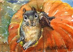Art: Pumpkin Squirrel by Artist Erika Nelson