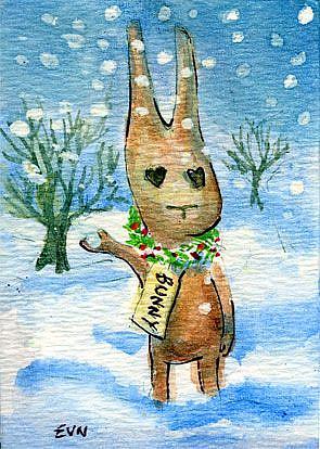 Art: Bunny Got Snow by Artist Erika Nelson