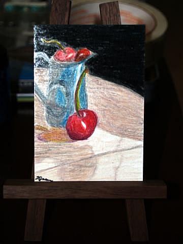 Art: Pitcher of Cherries - sold by Artist Shari Lynn Schmidt