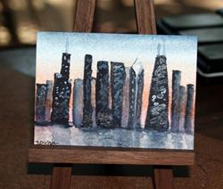 Art: Chicago Skyline at Dusk - sold by Artist Shari Lynn Schmidt