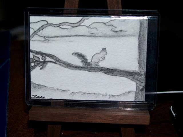 Art: Chumbley, Our Neighborhood Squirrel - sold by Artist Shari Lynn Dunn