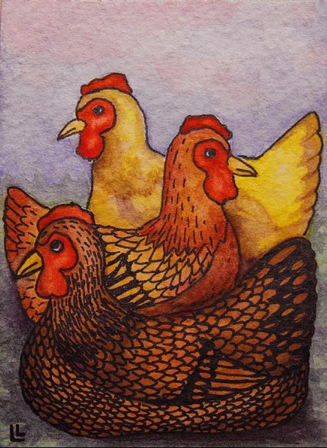 Art: Three French Hens ACEO by Artist Lindi Levison