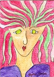Art: Lady in a purple shirt. by Artist Margie Byrne