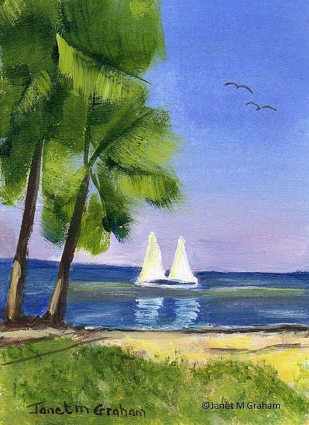 Art: Tropical Beach ACEO by Artist Janet M Graham