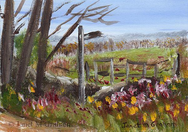 Art: English Countryside ACEO by Artist Janet M Graham