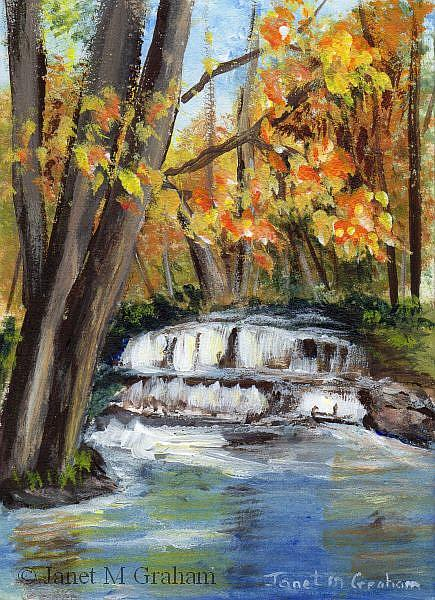 Art: Fall Waterfall ACEO by Artist Janet M Graham