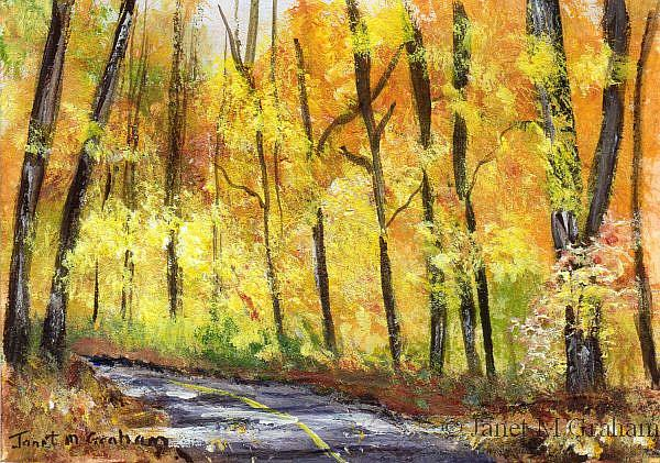 Art: Fall Road ACEO by Artist Janet M Graham