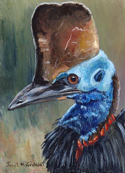 Art: Cassowary ACEO by Artist Janet M Graham