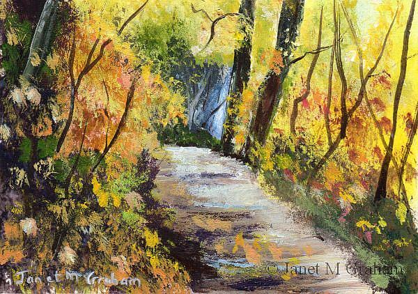 Art: Autumn Path ACEO by Artist Janet M Graham