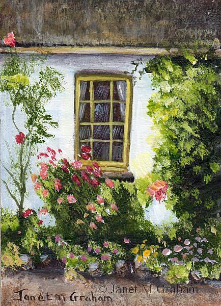 Art: Cottage Window ACEO by Artist Janet M Graham