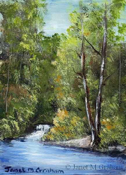 Art: Waterfall ACEO by Artist Janet M Graham