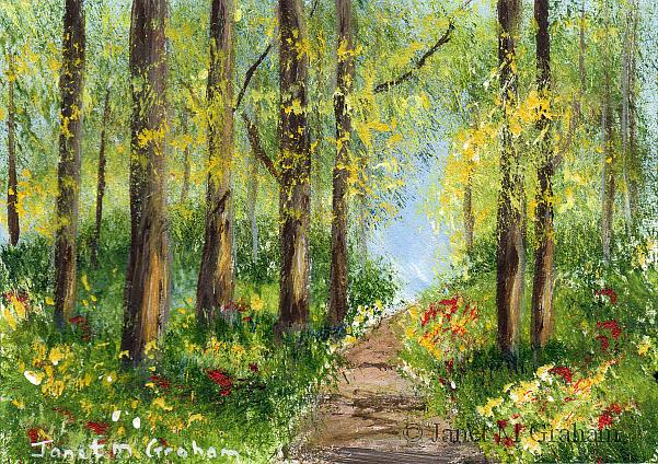 Art: Spring Pathway ACEO by Artist Janet M Graham