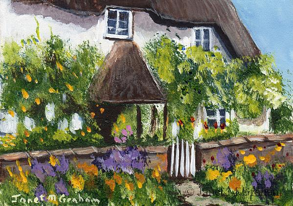 Art: Country Cottage ACEO by Artist Janet M Graham