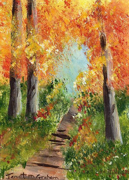 Art: Autumn Trail ACEO by Artist Janet M Graham