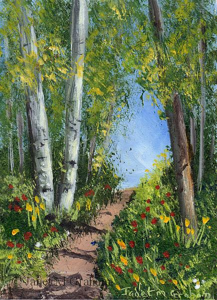 Art: Spring Trail ACEO by Artist Janet M Graham