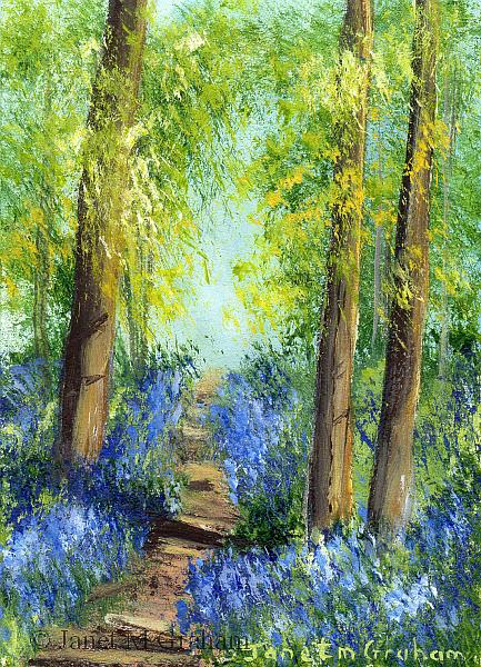 Art: Bluebell Trail 2 ACEO by Artist Janet M Graham