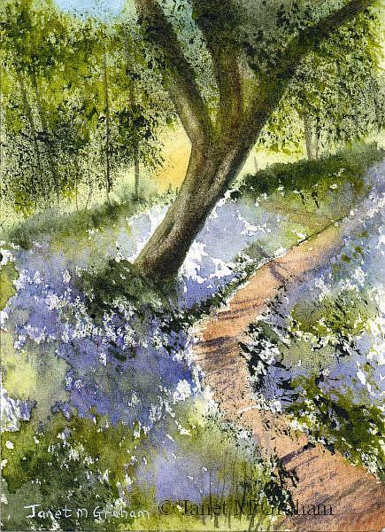 Art: Bluebell Path ACEO by Artist Janet M Graham