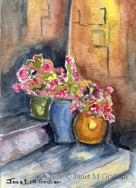 Art: Colourful Pots ACEO by Artist Janet M Graham