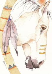 Art: 'WAKANTANKA'S LAST PONY' by Artist Gretchen Del Rio