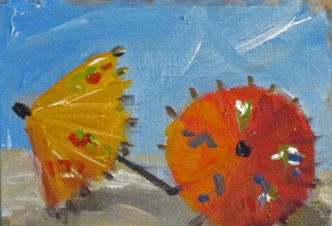 Art: Red and Yellow Umbrella's Aceo by Artist Delilah Smith