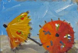 Detail Image for art Red and Yellow Umbrella's Aceo