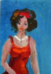 Art: Girl with the Red Dress Aceo by Artist Delilah Smith