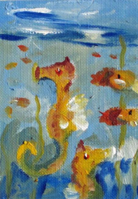 Art: Seahorse Aceo by Artist Delilah Smith