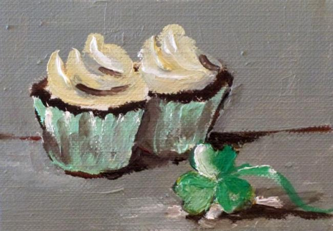Art: Irish Cupcake Aceo by Artist Delilah Smith