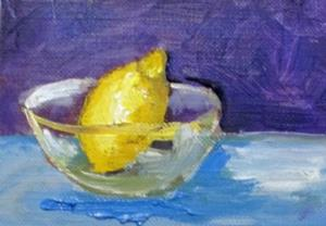 Detail Image for art Lemon in Glass Bowl Aceo-sold