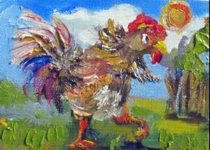 Detail Image for art Rooster Aceo No. 3