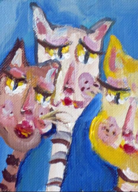 Art: Cat Trio Aceo by Artist Delilah Smith
