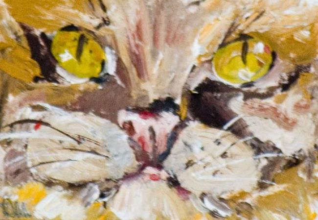 Art: Yellow Eyed Cat ACEO by Artist Delilah Smith