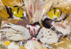 Detail Image for art Yellow Eyed Cat ACEO