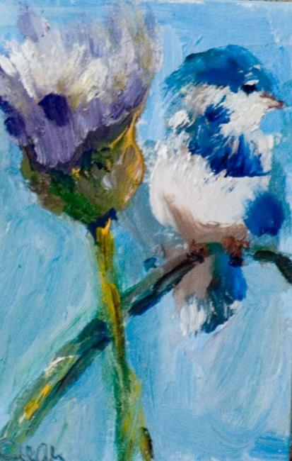 Art: Bird on Thistle Aceo-SOLD by Artist Delilah Smith