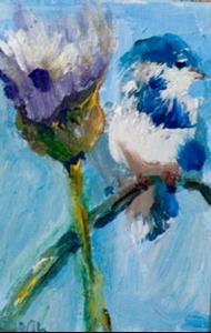 Detail Image for art Bird on Thistle Aceo-SOLD