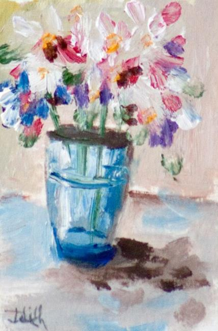 Art: Flowers in Blue Vase ACEO by Artist Delilah Smith